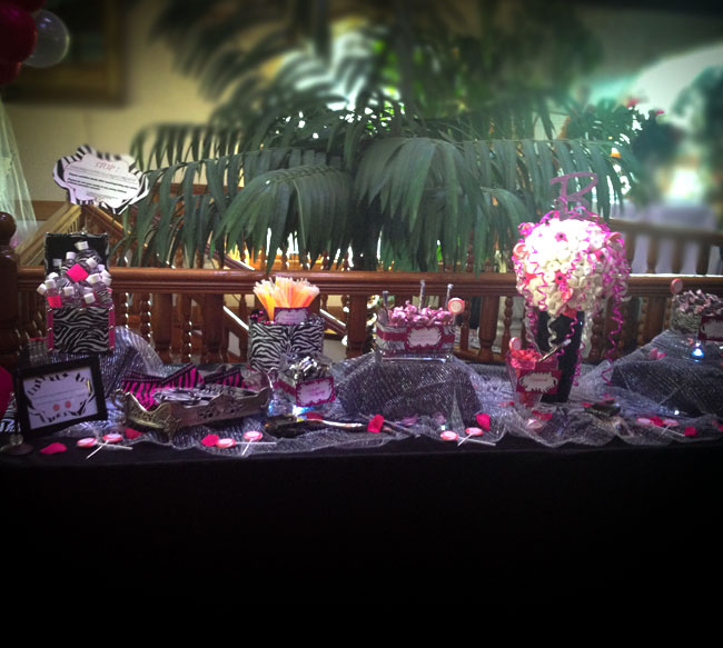 Sweet 16 hot pink, zebra candy table